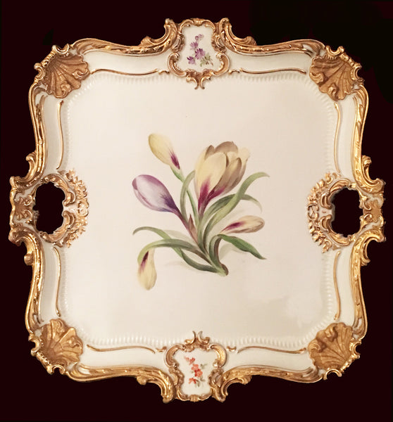 SOLD German Meissen Porcelain Rococo Style Square Tray Dated 1929