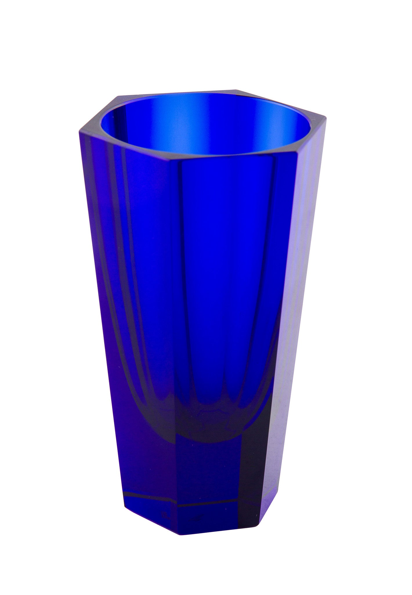 SOLD Czech Bohemian Moser Glass Art Deco 6-sided Hexagonal-Form Cobalt Blue Vase