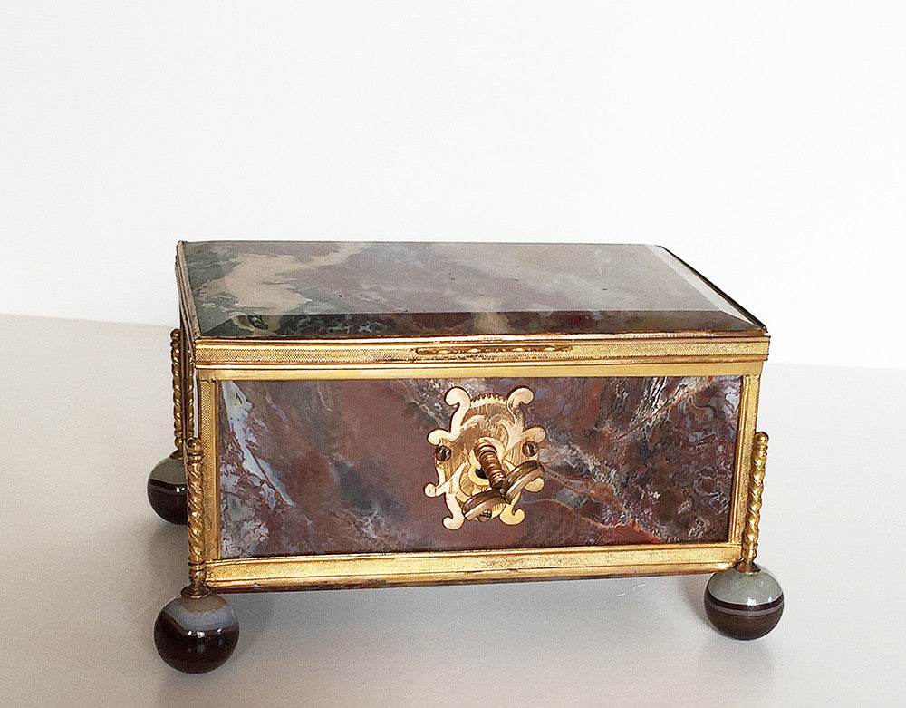 SOLD  Continental 19th C. Onyx and Gilt-Metal-Mounted Table Box