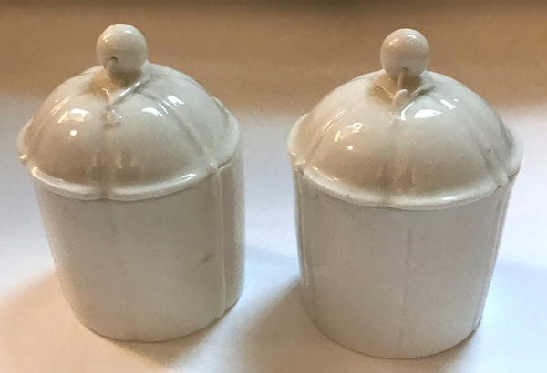 Three 18th Century French Mennecy Porcelain Cosmetic Pots.
