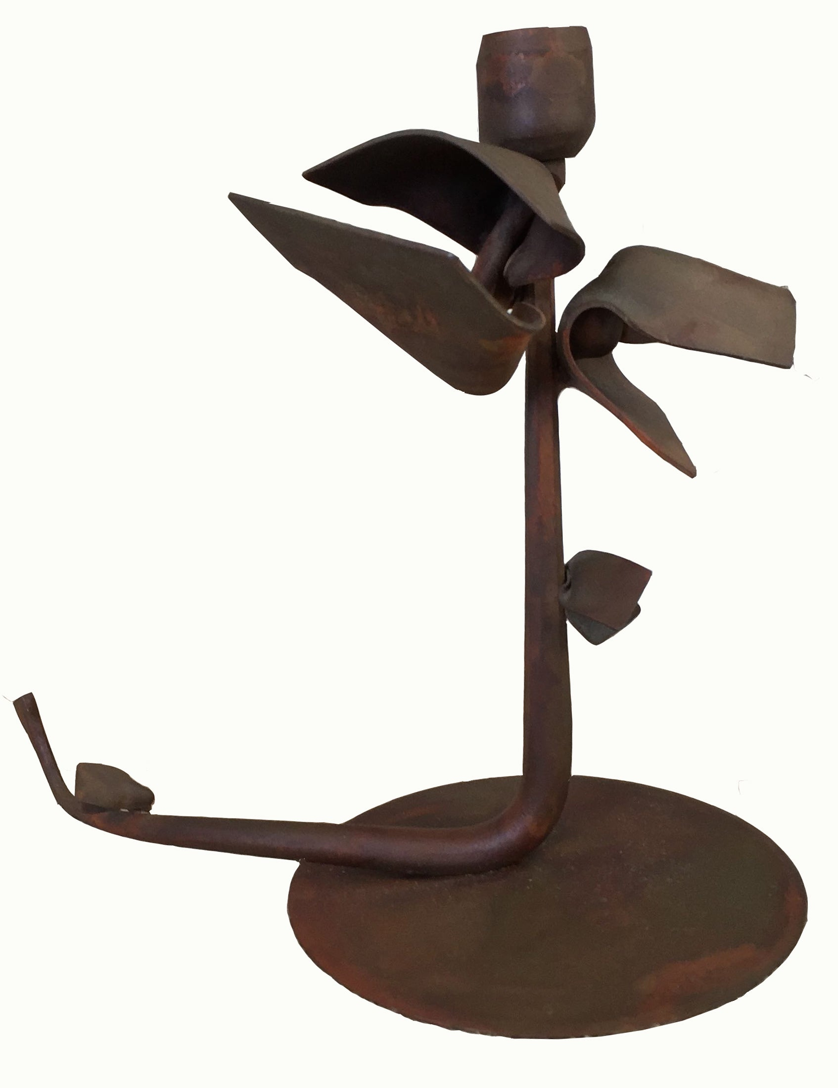 Albert Paley Forged Iron Floral Candlestick,