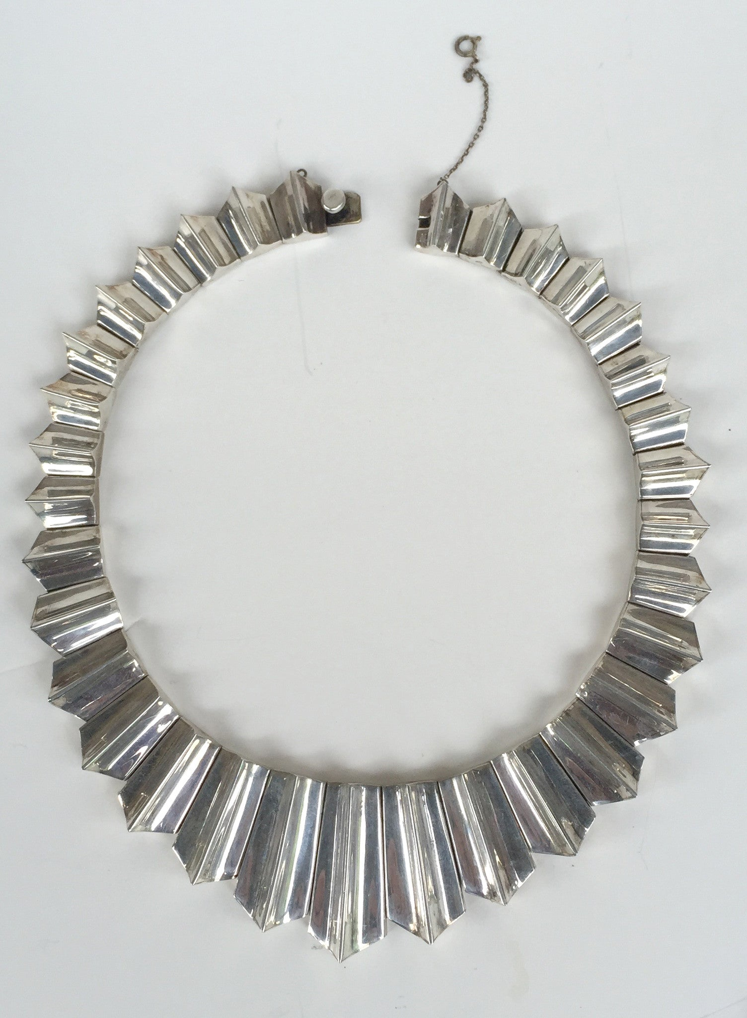 Mexican Modernist Silver Zig Zag Necklace, after Antonio Piñeda Taxco