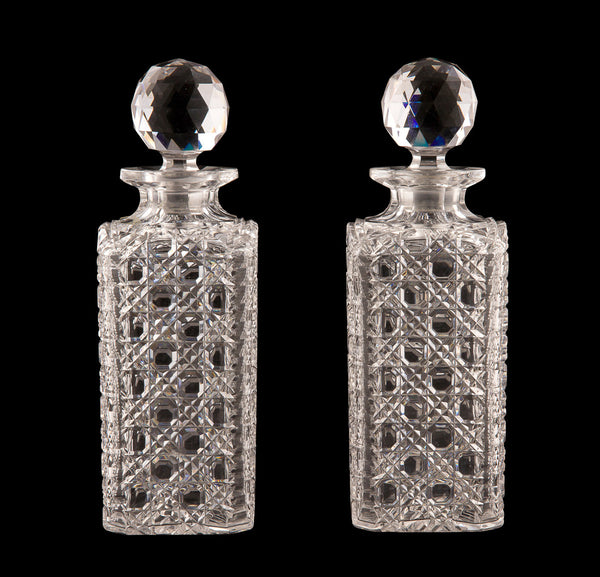 SOLD English Late Victorian Pair of Square Spirit Decanters and Stoppers