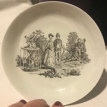 18th Century Worcester Porcelain Saucer Transfer Printed with La Cascade.