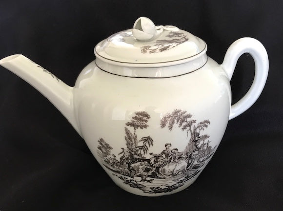 18th Century Worcester Porcelain Globular Teapot with Black Transfer Prints.