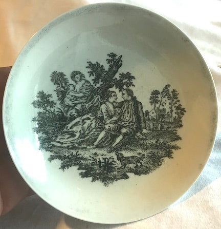 18th Century Chaffers Liverpool Porcelain Black Transfer Printed Saucer.