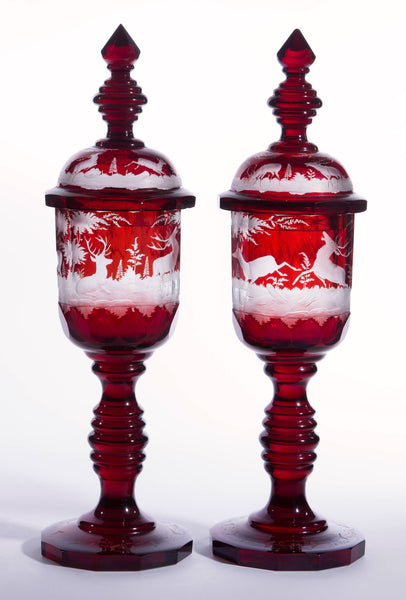 SOLD Pair of Massive German-Czech 19th Century Bohemian Ruby-Stained Glass Goblets
