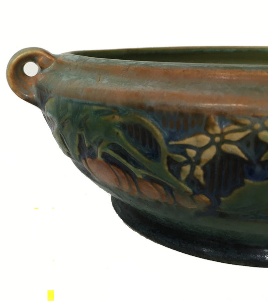 SOLD Roseville Green Pottery Baneda Pattern Low Bowl