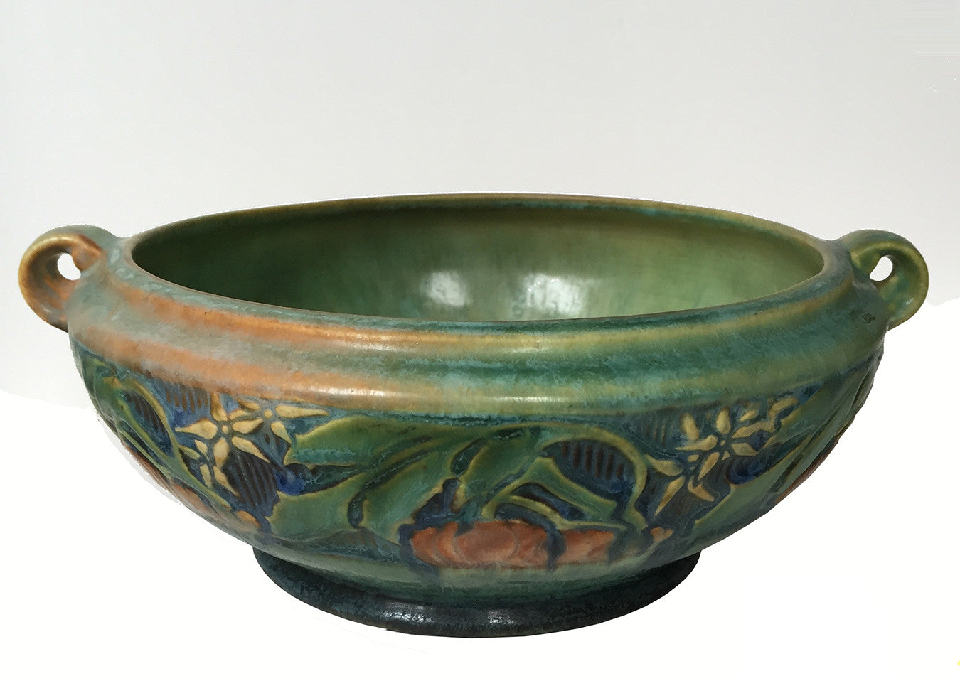 SOLD Roseville Green Pottery Baneda Pattern Low Bowl, circa 1930