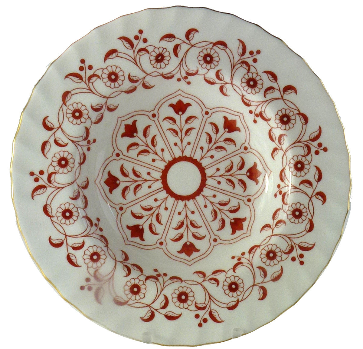 Royal Crown Derby Porcelain Rougemont Pattern Rim Soup Plates Set of 12