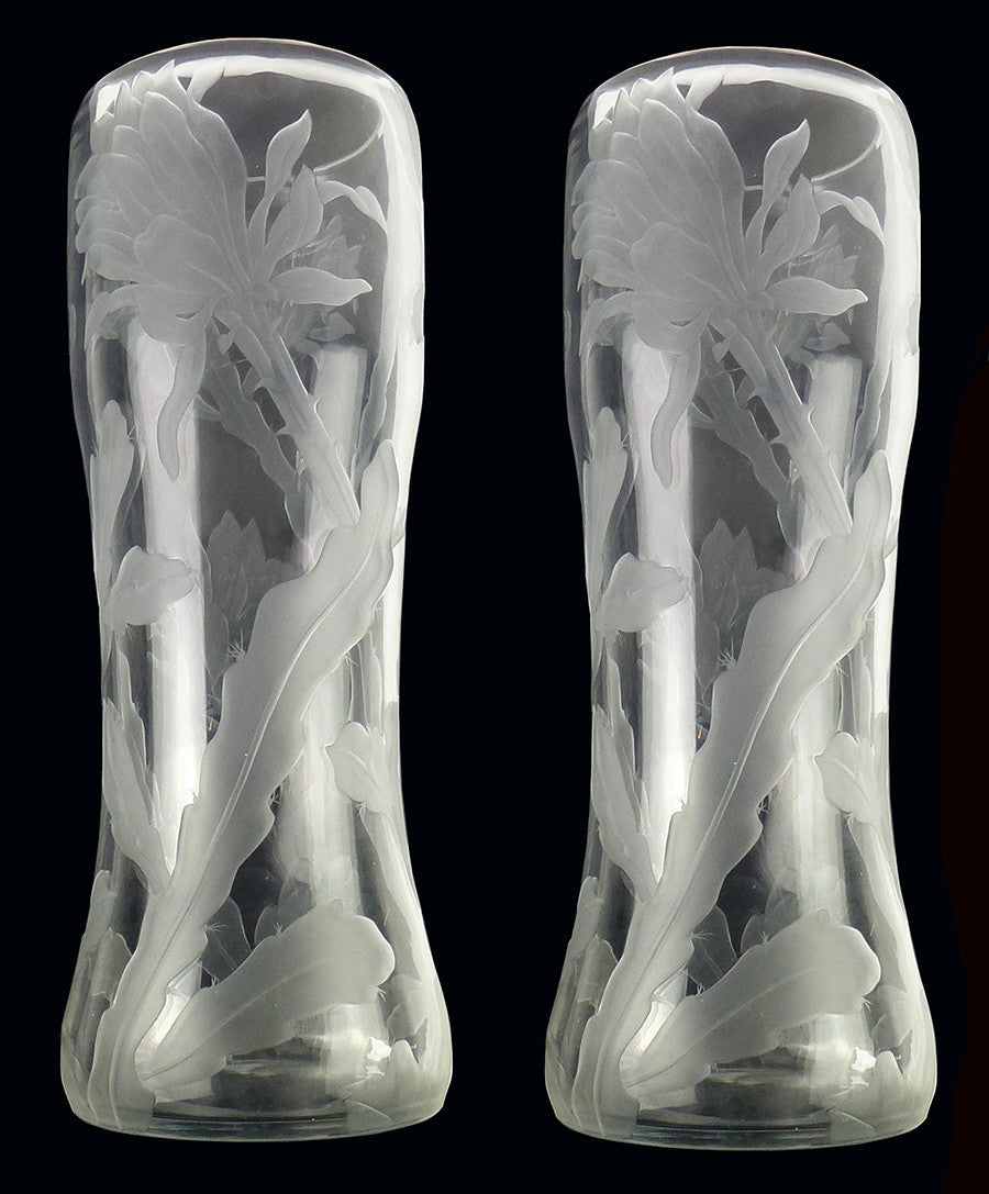 SOLD Russian Art Nouveau Imperial Glass Factory Pair of Vases Etched with Orchid Cactus