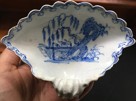 SOLD English Bow Porcelain Factory Early Shell Sweetmeat Dish, circa 1750
