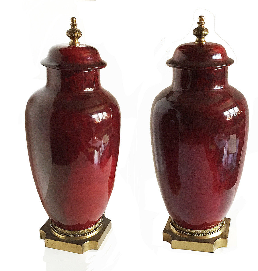 SOLD French Sevres Faience Pair of Gilt-Bronze Mounted Jars & Covers by Paul Milet