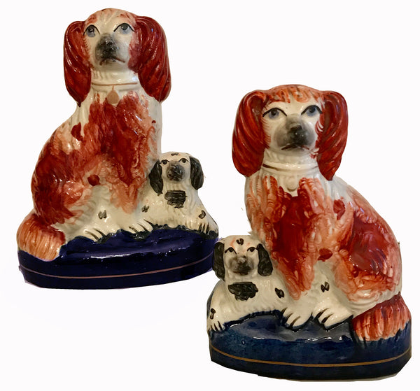 Staffordshire Pottery Victorian Pair of Seated Spaniels Circa 1855