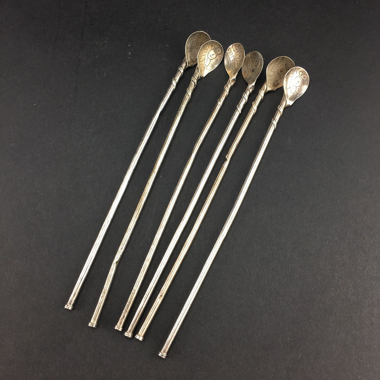 Retro Taxco Sterling Silver Set of 6 Iced Tea Spoons