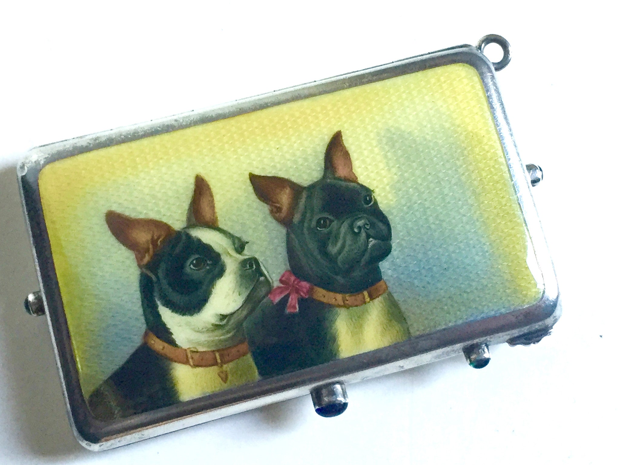 German Silver and Silver-Gilt Cosmetic Case with Enamel of Dogs to Cover