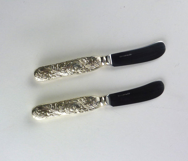 SOLD Tiffany & Co. .925 Sterling Silver Chrysanthemum Pattern Pair of Butter Knives