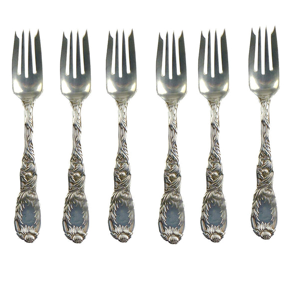 SOLD American Tiffany .925 Sterling Silver Chrysanthemum Pattern S/6 Individual Salad Forks