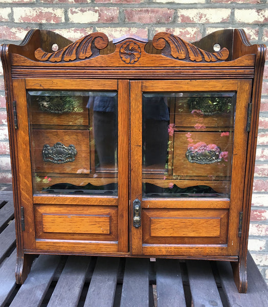 Victorian Oak Table Top Tobacco Cabinet Chest w Duroglass Humidor