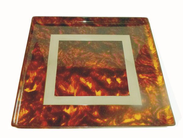 Tortoise Shell-Look Square Tray with Geometric Chrome Inlay