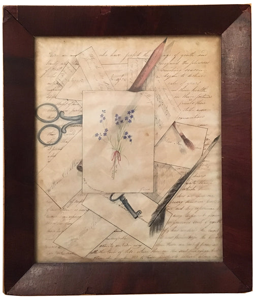 SOLD Folk Art Trompe L'Oeil Drawing of Letters