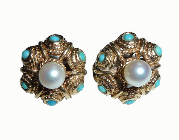 SOLD  Gold, 8 mm. Pearl Turquoise PairEarrings