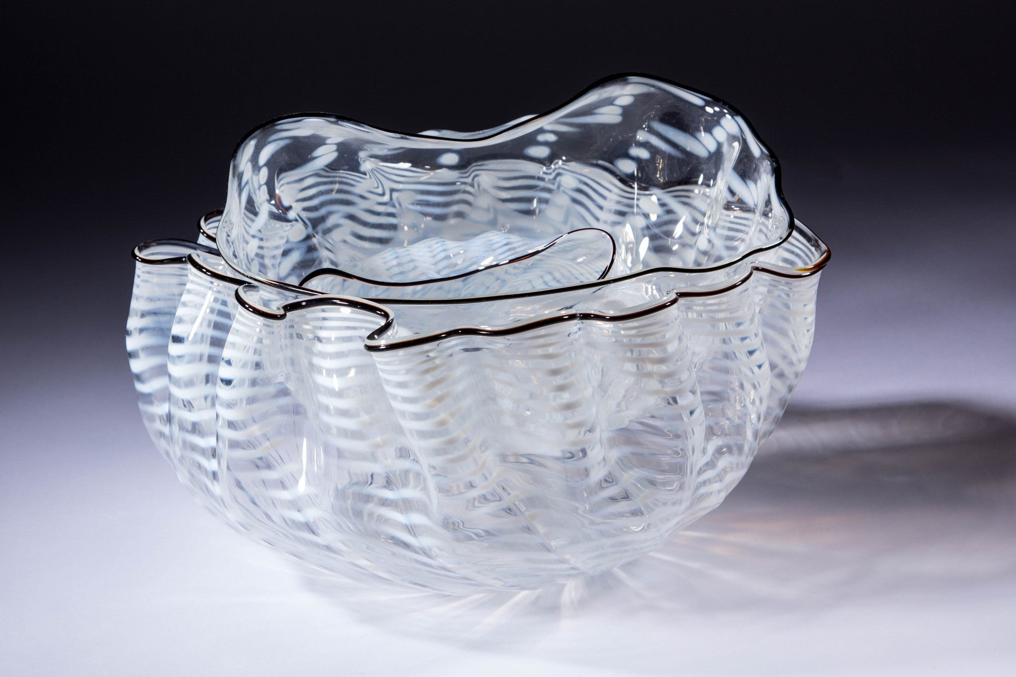 SOLD Dale Chihuly Seaform Three Piece Blown Glass Nesting Bowl Set