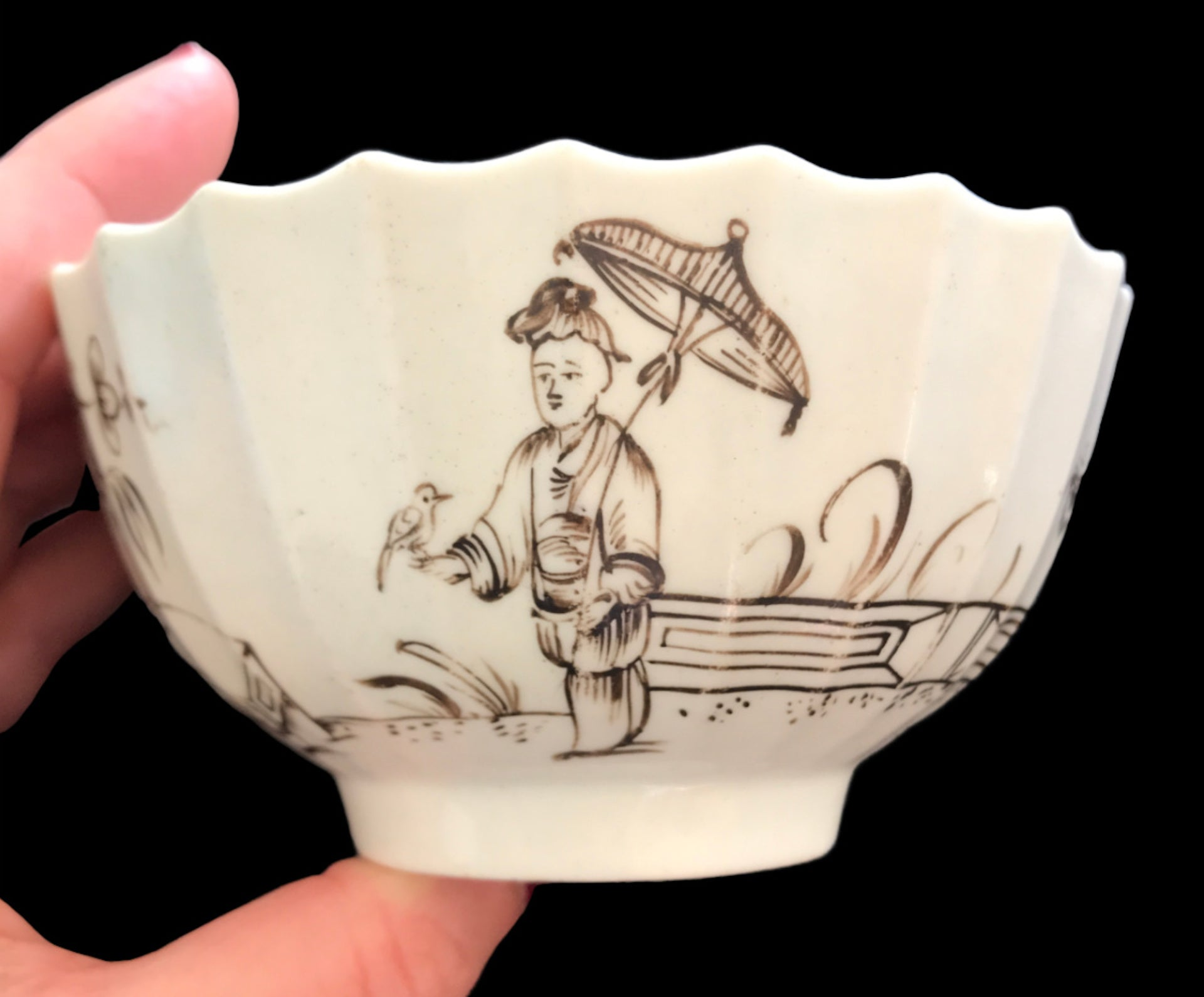 18th Century Worcester Porcelain Fluted Bowl with Black Penciled Decoration.
