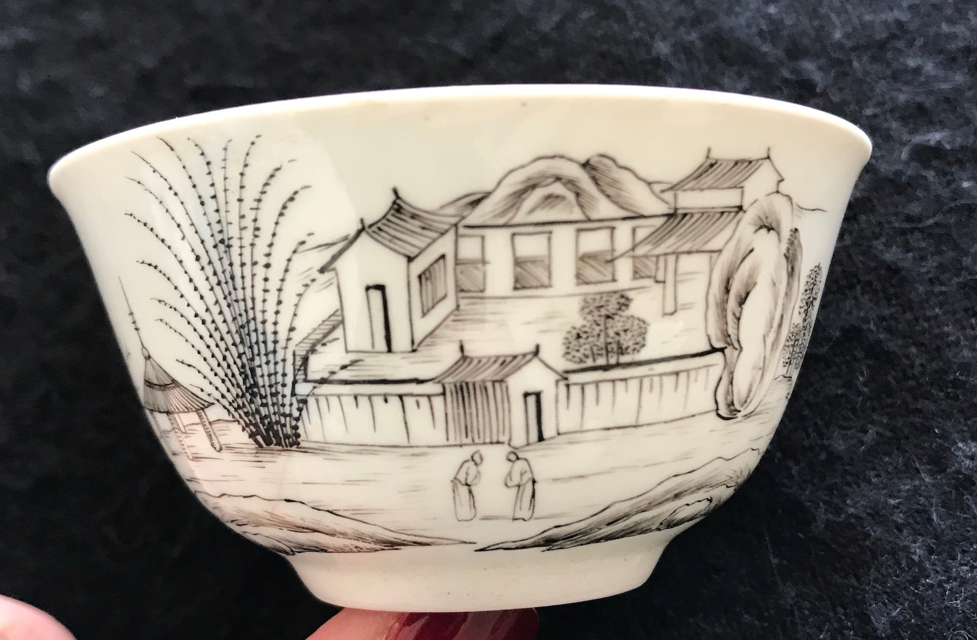 18th Century Worcester Porcelain Chinoiserie Pencilled Teabowl.