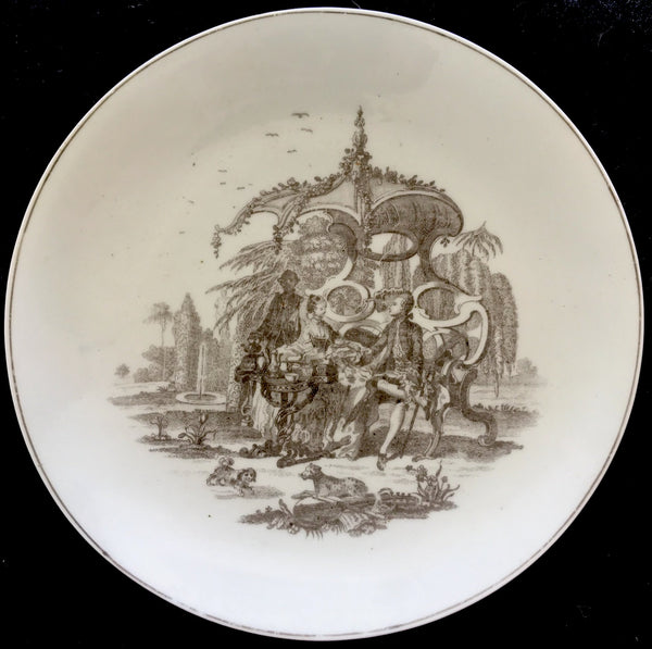 Worcester Porcelain Saucer Dish Transfer Printed with a Tea Party Pattern Variation.