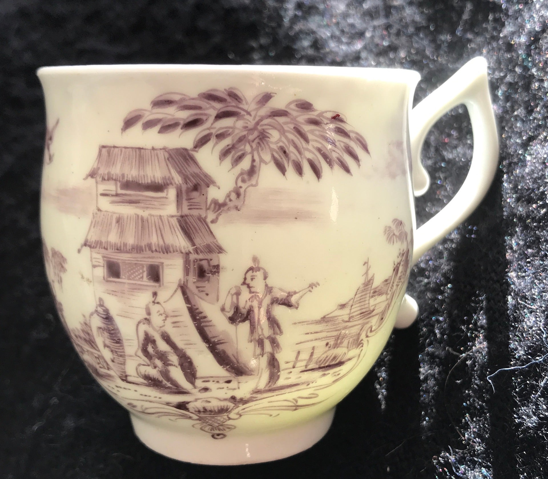 18th Century Worcester Porcelain Lilac Painted Coffee Cup with Chinoiserie Scene.
