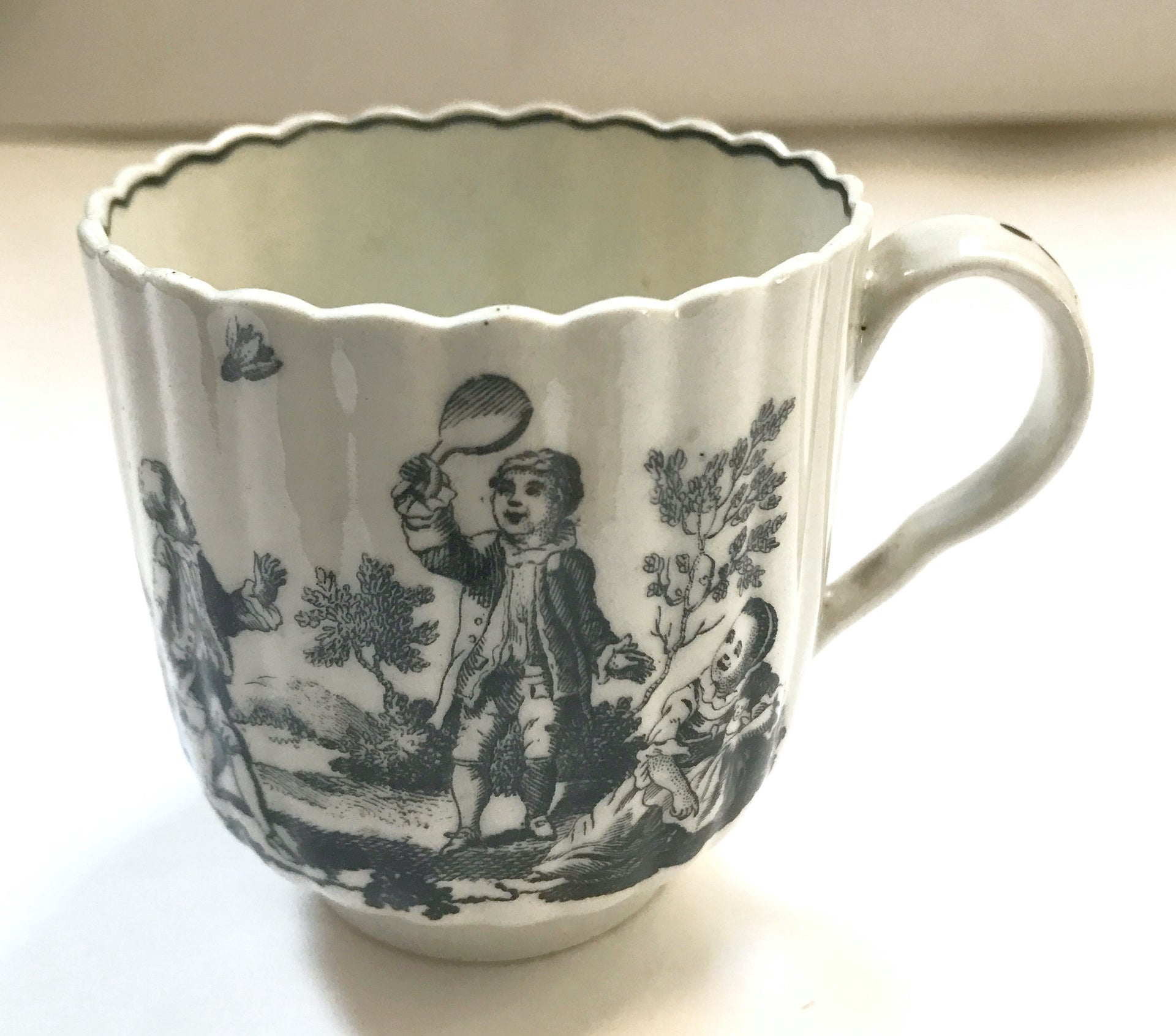 18th Century Worcester Porcelain Fluted Coffee Cup.