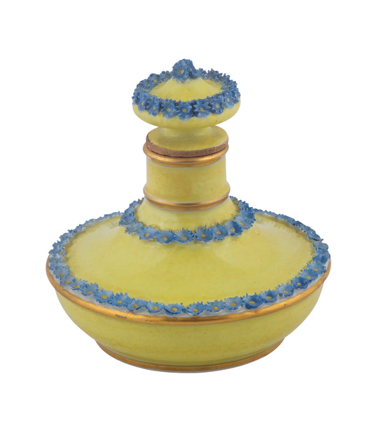 SOLD French Paris Porcelain Yellow-Ground Scent Bottle and Stopper