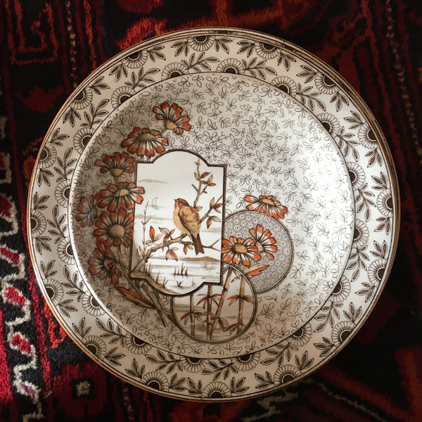 English Aesthetic Movement Pottery Soup Plate