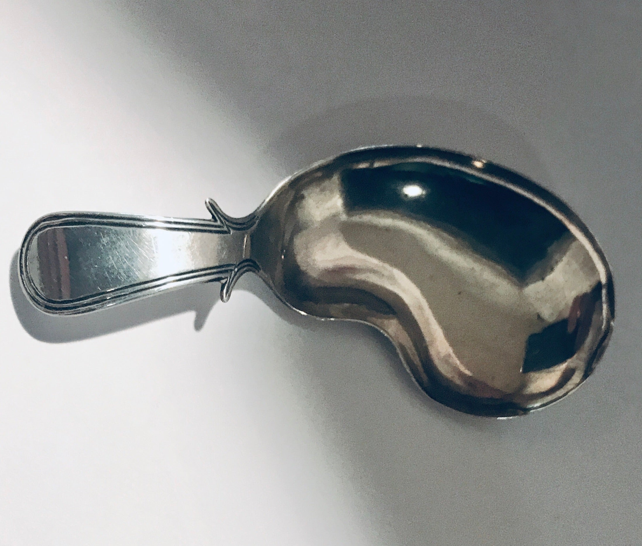 SOLD George III Silver Caddy Spoon with Kidney Shaped
