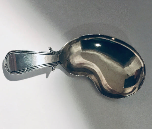 English George III Silver Caddy Spoon with Kidney Shaped