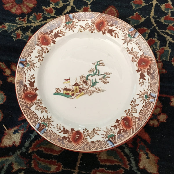 Six Transfer-Printed Chinoiserie Dessert Plates
