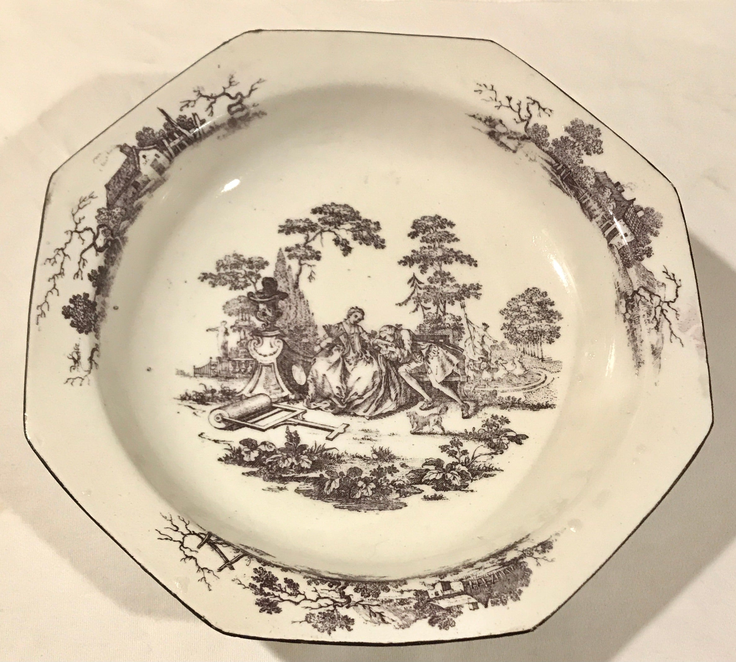 18th Century Bow Porcelain Octagonal Rim Soup Plate Printed in Purple.