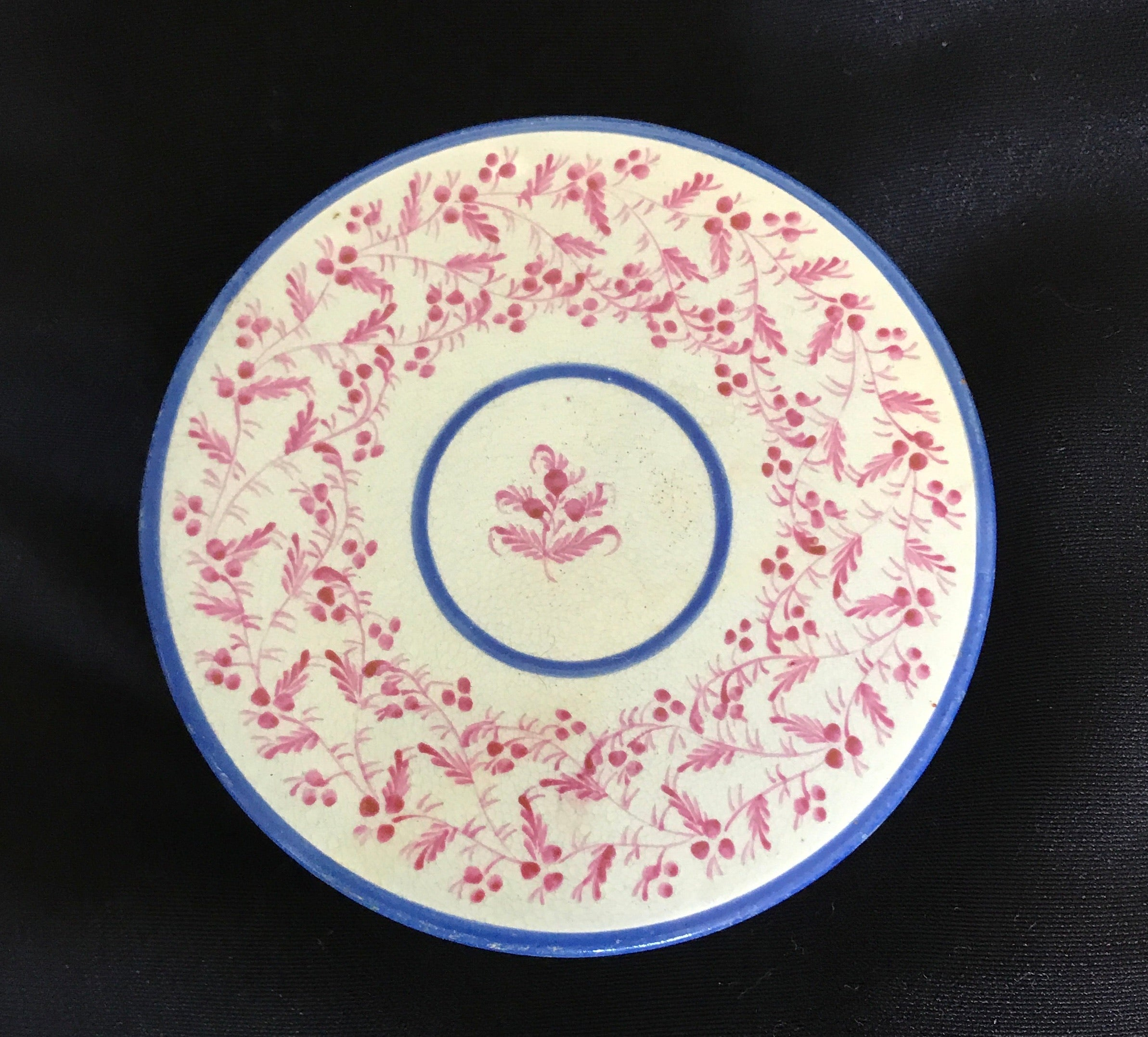English Painted Pearlware Round Screw Top Box.