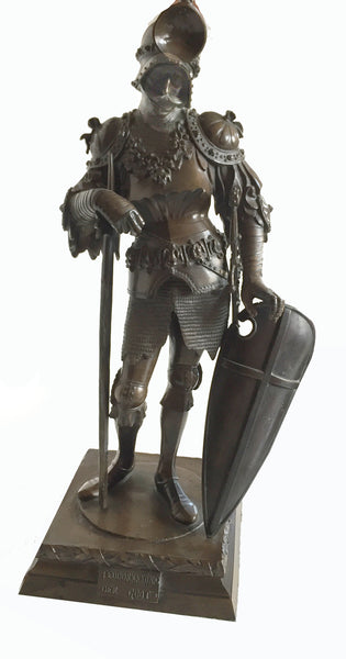 SOLD After Peter Vischer Bronze Figure, Gothic King Theodoric, 20th Century in Gothic Style