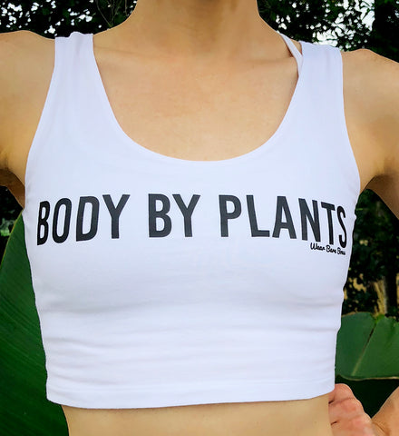 Women's 'Body By Plants' Crop Tank in White - WearBareBones
