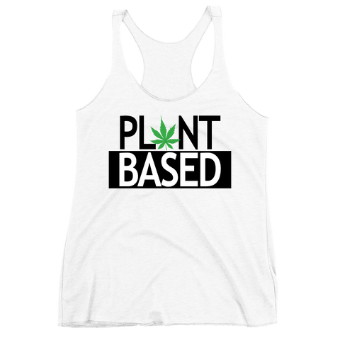 Women's 'Plant Based' Tank in White - WearBareBones