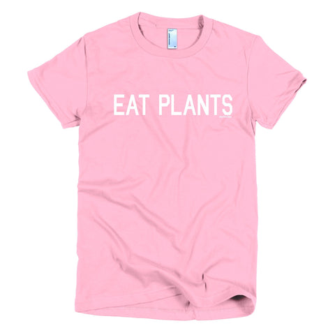 Women's 'Eat Plants' Tee in Pink - WearBareBones