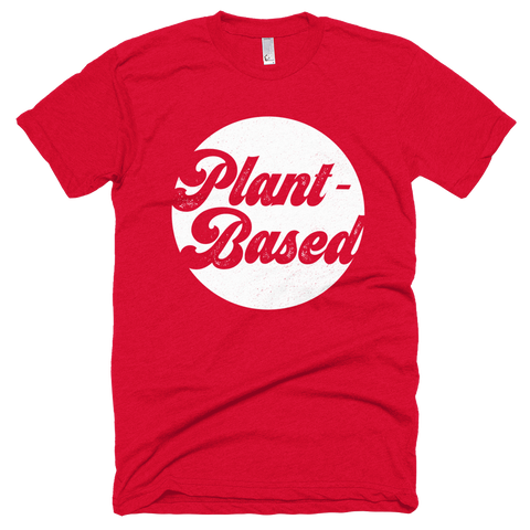 'Plant-Based' Retro Tee in Red - WearBareBones