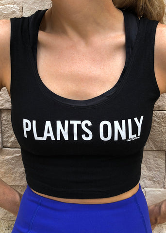 Women's 'Plants Only' Crop Top in Black - WearBareBones