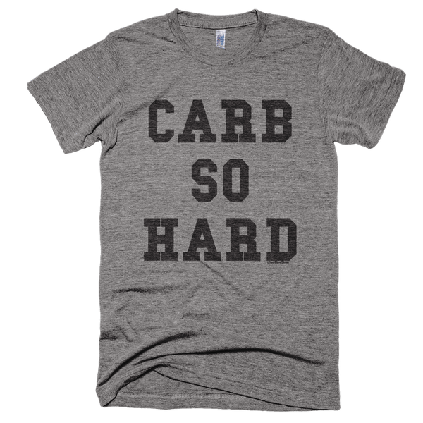 'Carb So Hard' Tee in Heather Grey - Wear Bare Bones