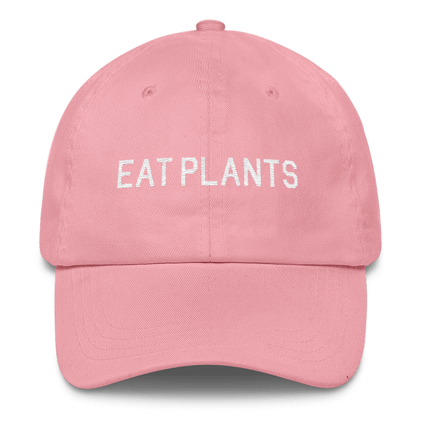 'Eat Plants' Dad Hat in Pink