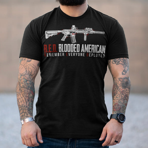 Remember Everyone Deployed Red Blooded American Rifle Shirt No Slack Clothing Company