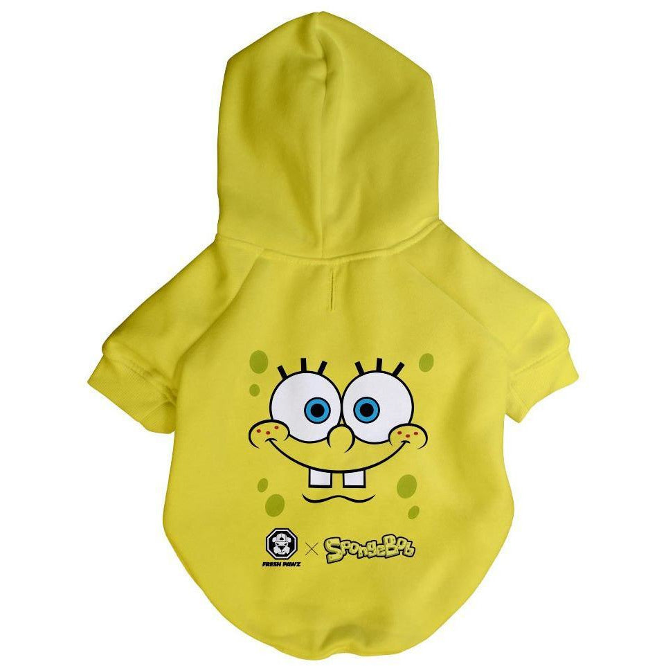 Spongebob x Fresh Pawz - SB Face Hoodie | Dog Clothing