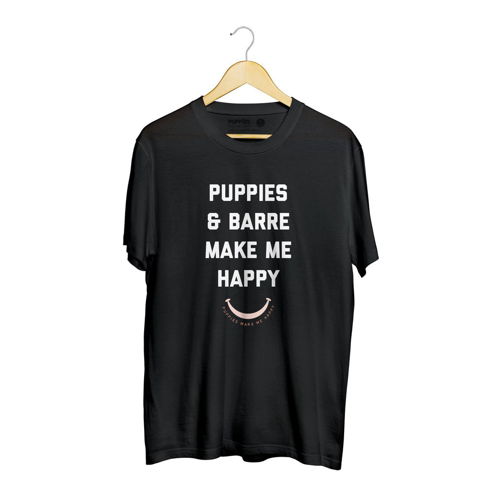 Puppies & Barre Title | Heavyweight Tee - Puppies Make Me Happy